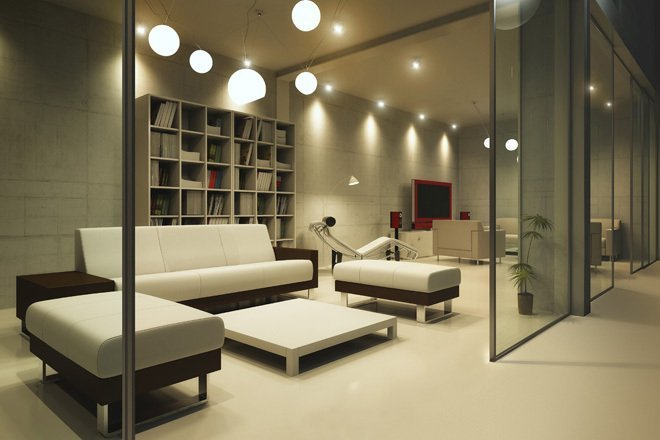 Room at night with furniture, HD tv and library